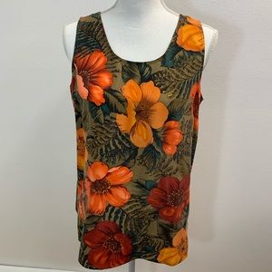 Rafaella Small 100 % Silk Top Orange Floral m34